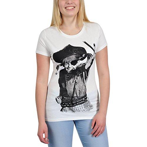 Pippi Calzaslargas - camiseta de Pippi pirata - para mujer, estampado retro, con la licencia oficial, ajustada, blanca crema - M