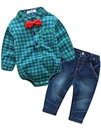 ropa de bebé, Honestyi 2 Unids Infant Toddler Baby Boys Grid Print Tops Mameluco + Pantalones Trajes Ropa Set