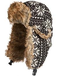 Accessoryo - Bonnet Tricoté Noir Et Gris De Style Trappeur Fairisle Avec Doublure En Fausse Fourrure Dans Les Tailles 58cm Ou 60cm