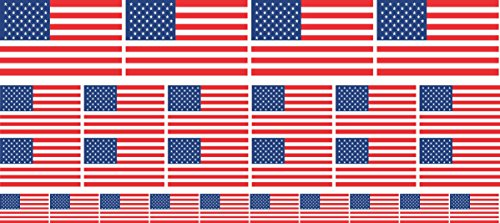 Mini Aufkleber Set glatt - 4x 51x31mm+ 12x 33x20mm + 10x 20x12mm- selbstklebender Sticker - USA - United States - Flagge / Banner / Standarte fürs Auto, Büro, zu Hause und die Schule - Set of 26 - Usa Bunting