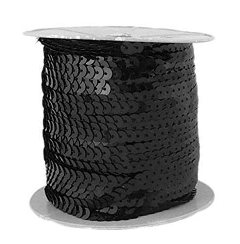 Lentejuelas negro 6mm ancho banda 91metros Bastel
