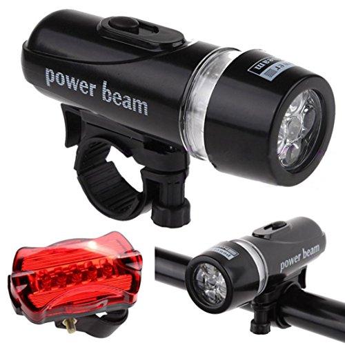 Fahrradlicht SUCES Fahrradbeleuchtung Taschenlampen Fahrradzubehör Outdoor Wasserdichte 5 LED Lampe Fahrrad Fahrrad Frontscheinwerfer + Sicherheit Taschenlampe Set Bicycle Accessories (Black)