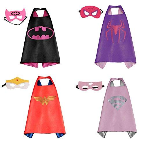 Preisvergleich Produktbild RioRand Comics Cartoon-Helden kinder verkleiden Kostüme 4 Satz Satin Capes mit Filz Masken für Mädchen