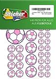 114stickers football, stickers, 15–50mm, rose/violet, en PVC, film, imprimé, autocollant, Em WM, Bundesliga