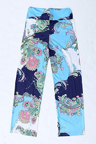 Bigood Pantalon Sport Femme Large Jambe Yoga Plage Imprimé Elastique Multicolore