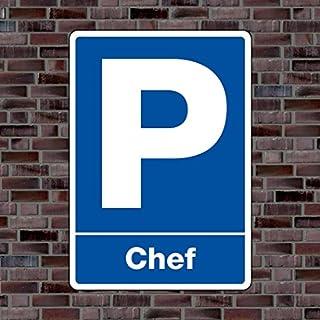 Parkplatzschild «Chef» - Hochwertiges Alu-Verbundmaterial - Größe 30 x 21cm (ca. DIN A4)