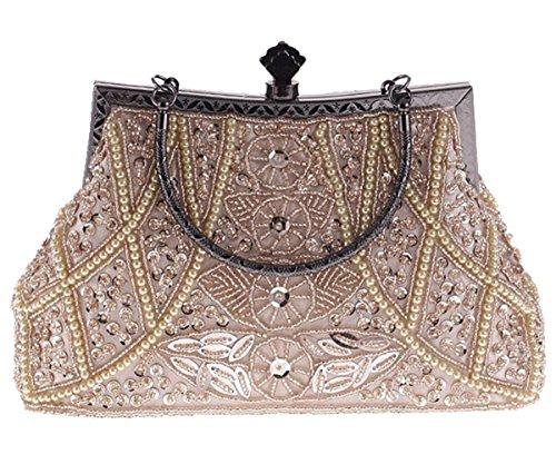 ERGEOB Damen Clutch Pfau bunten festlichen Flanell Abendtasche für Party Hochzeit Theater Kino Champagner Farbe -