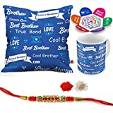 "Indigifts Raksha Bandhan Gifts For Brother Best Bhaiya True Bond Quote Printed Gift Set Of Cus 12""x12"" With Filler, Mug 330 Ml, Crystal Rakhi For Brother, Roli, Chawal & Greeting Card - Rakhi Gifts For Brother, Rakshabandhan Gifts, Rakhi For"