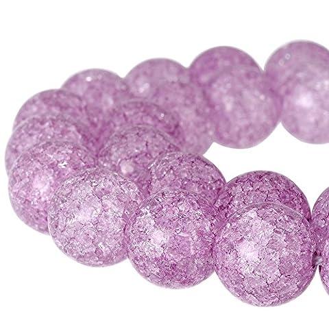 Rubyca rond craquelé druk Cristal Tchèque pressé Perles de verre pour fabrication de bijoux 1Mèche, violet, 10 mm