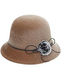 Topgrowth Cappello Donna Elegante Cloche Cappello Benna Morbida Lana Beanie  cap Festa Vintage Ampio Bordo Panama 341e848ca87d