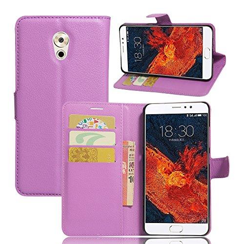 Kihying Hülle für Meizu Pro 6 Plus Hülle Schutzhülle PU Leder Flip Wallet Fashion Geschäft HandyHülle (Lila - JFC04)