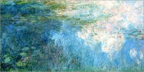 Posterlounge Leinwandbild 120 x 60 cm: Seerosen, Paneel C II. von Claude Monet/ARTOTHEK - fertiges Wandbild, Bild auf Keilrahmen, Fertigbild auf echter Leinwand, Leinwanddruck