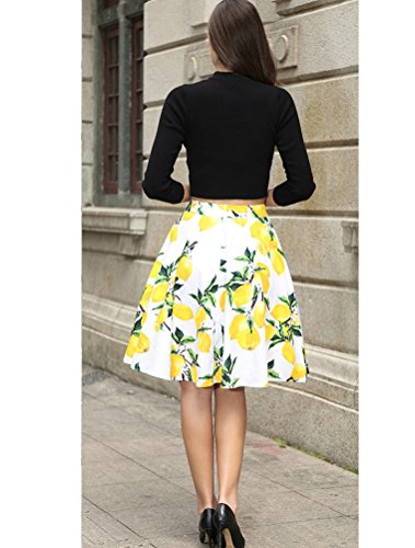 Vogstyle Donna Stampa Mini Gonna Casual Retro Annata Skirt Stile-2 Bianca