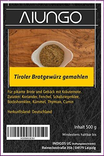 Viungo® Goldline - Tiroler Brotgewürz gemahlen - 500g - für leckeres Brot und Backwaren, zu Hause, Kindergarten, Schule, Party, Betrieb