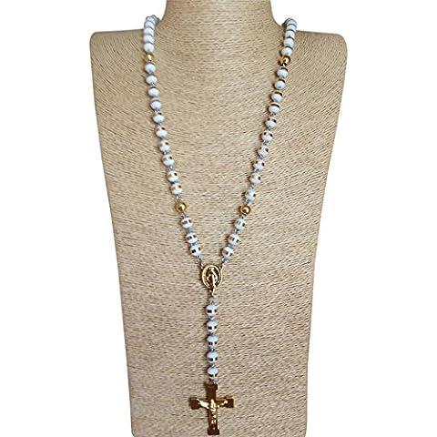 Hombre 8mm blanco collar de Rosario con cuentas de oro 18K crucifijo de acero inoxidable de 2tonos & Vintage Cadena