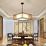 Moderno Sencillo Moda Colgante De Luz Cuadrado Restaurante Comedor Lámparas Colgantes Sala Antiguo Hierro Paño Hotel Estudiar Bronce Iluminación De Techo L50cm E27 * 3