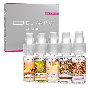 5 x 10ml Elvapo E-LIQUID-BOX | Made in Germany | Tabak-Set: American Blend, Virginia Blend, Sweet Orient, Del Sol, Brasil | Probierset für E-Zigaretten und E-Shishas | 0mg (ohne Nikotin)