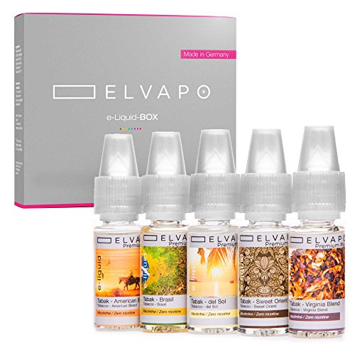 Elvapo Premium Plus E-LIQUID-BOX, extra starker Geschmack, Tabak-Set: American, Virginia Blend, Sweet Orient, Del Sol, Brasil, 5 x 10 ml