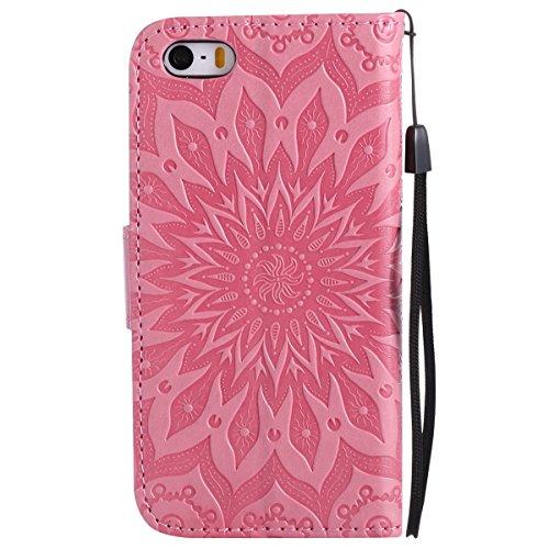 Per Custodia iphone 6 plus, Ekakashop Cover in PU Pelle - Progettato per iphone 6S plus Ragazza Ragazzo Vintage Moda Colorate Sunflower Girasole Rilievo Pattern Disegno Materiale PU Leather Magnetico  Rosa