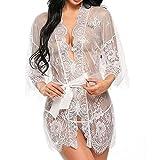 UMIPUBO Mujer Ropa de Dormir Conjunto Sexy lingerie Transparente Lace Lenceria Erotica Babydoll Ropa Interior (EU 38, blanco)