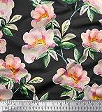 Soimoi Orange Samt Stoff Blume & Blätter Aquarell gedruckt