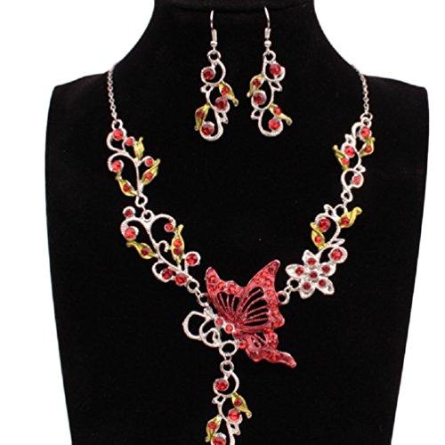 Mujers Pendientes Collar,Xinan Joyería Novia Mariposa Cristal Flor Colgante (Rojo)
