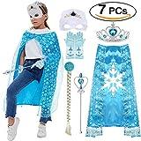 VAMEI Prinzessin ELSA Dress up Tiara Zopf Zauberstab Maske Blaue Handschuhe 7 Set Mädchen Party Cosplay Zubehör Blau