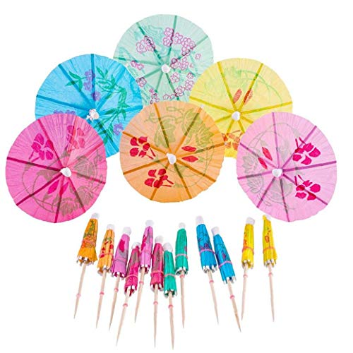 AMOYER 50Pcs Cocktail Dekorative Garnishes Regenschirm Zahnstocher Bambus-Stock-Sommer-Party-Strand-Thema Dekor Farbe Random