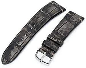 Cinturino per orologio in alligatore Strapcode 20mm o 22mm MiLTAT Cinturino per orologio grigio vintage in pelle di alligatore fatto a mano italiano