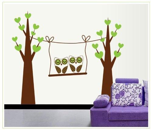 Due gufi albero in un altalena Adesivo da parete Nursery Room Decor adesivo da parete