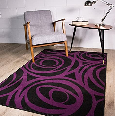 Contemporary Purple and Black Modern Floral Silhouette Pattern Outline Design Rug 80cm x 150cm