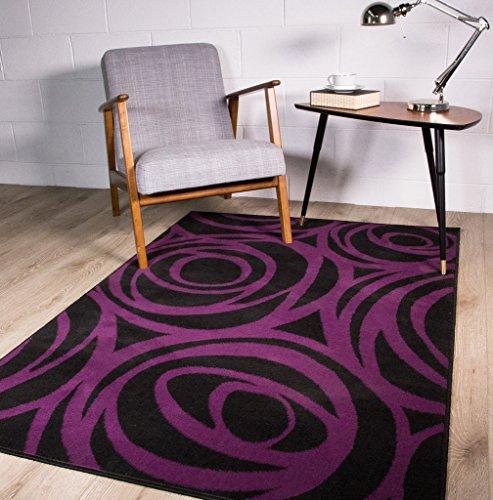 zeitgenössisch moderner lila-schwarzer Design-Teppich mit Blumen-Silhouetten 80cm x 150cm (X 7 Rag-rug-5)