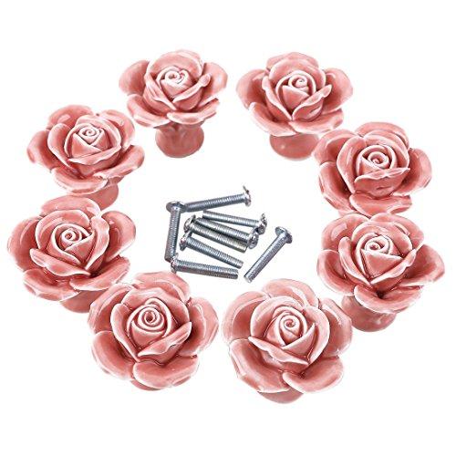 TXXCI 8Pcs Möbelknopf Schrankknöpfe Möbelknöpfe Set Möbelgriff Türknopf Cabinet Pulls Schrank Griffe Tür-Fach-Knöpfe für Dresser Kitchen - Rosa Rosa Blume, Knöpfe Für Kommoden