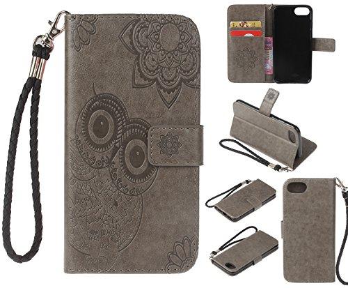 Ecoway Para Apple iPhone 7/7G/8 (4,7 zoll) Funda, Patrón de búho en relieve Cuero de la PU Leather Cubierta , Función de Soporte Billetera con Tapa para Tarjetas Soporte para Teléfono - gris