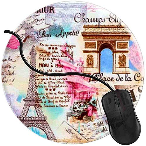 Paris Frankreich Eiffelturm Rosa Vintage Mauspad Gaming rutschfeste Gummibasis Komfort Mauspad Matte Langlebig Genähte Kanten Runde Gaming (0,3 cm * 20 cm * 20 cm) -