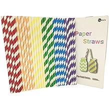 150 pajitas de papel biodegradables con embalaje reciclado para beber