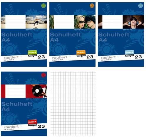 Preisvergleich Produktbild Schulheft A4 rautiert 16 Blatt, Lineatur 23, Heft, Raute