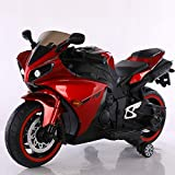 A&Y Battery Operated R1 Bike for Kids Age 2 - 7 Years with Light & Music - Metallic Finishing - Red & Black Color Combination