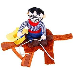 Etopfashion Petit Chat Costume avec Taureau Bonnet pour petit chien ou chat animal Cowboy Rider Chien Habillement S/M/L/XL