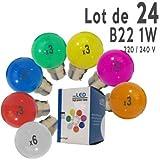 LedsBoutique - Lot de 24 ampoules LED B22 1W Rouges, Bleues, vertes, Jaunes, Roses, Oranges et Blanc Chaud Incassables (équivalent 15W) pour Guirlande Extérieure