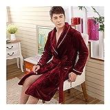 GAOHUI Les Hommes Automne Hiver Chaud Accueil Hôtel Peignoir De Flanelle Tricoté Manches Longues Vin Épaissie Rouge Couple Pyjama,Mâle,L (165-173Cm)