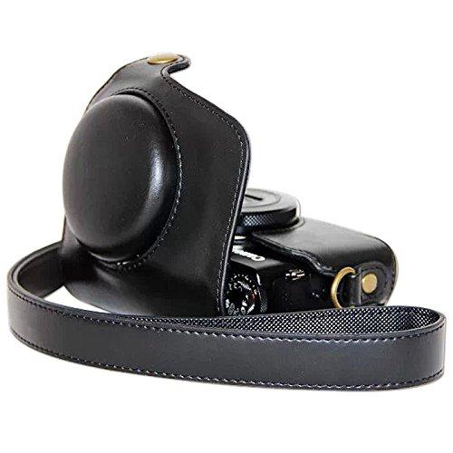 Galleria fotografica First2savvv XJPT G7X-01 nero preciso corpo in forma completa Cuoio Digital Camera Case Cover Bag con cinghia Canon PowerShot G7X Con lente panno di pulizia