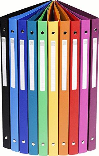 10er Pack Exacompta 51299E Ringbuch (PP 500µ, 4 Ringe, Rücken 20mm, blickdicht, DIN A4) 10 Farben (10)