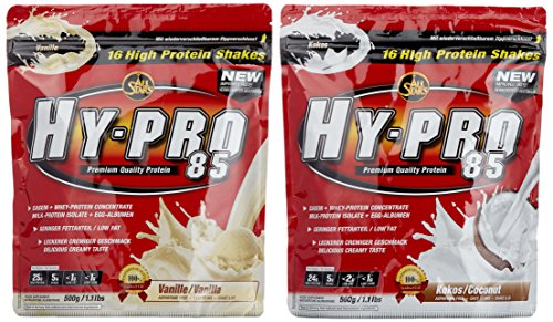 All stars Hy-Pro 85 Beutel 2er Mix Pack (2 x 500 g) Vanille/Cocos, 1er Pack (1 x 1 kg) - Egg Vanille Protein