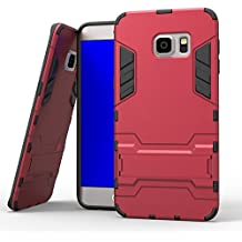 Samsung Galaxy S6 Edge Funda, YEESOON Híbrida Rugged Armor Case Choque Absorción Protección Dual Layer Durable Bumper Carcasa con pata de Cabra para Samsung Galaxy S6 Edge (Rojo)