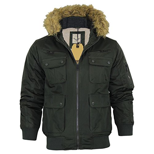 Brave Soul Herren Gepolsterter Jacke Kunstfell Rand Kapuze Bomber Neu Zip Up Winter Coat - Knight - Olive