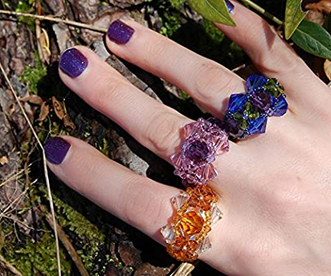 Blue and green fairy ring woven from Swarovski crystals, Elf Queen, fantasy costume jewellery, purple iris flower ring, mermaid jewelry, woven beaded ring customisable size and