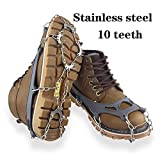 FANGHUA Ramponi per Scarpe 10 Dente Antiscivolo Tacchetti Ramponi per Scarpe Stivali con Catena in Acciaio Inox per Picco di Ghiaccio Escursionismo Camping (M/L) M-Blue