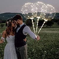 samLIKE Flash Bright Balloons | Led Luminous Balloon | with Tube Glow in The Dark, Latex Transparent Round Hand-held Wave Bobo Balloon for Birthday Wedding Grad Decor