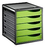 Rotho 1106505519 Schubladenbox Bürobox Spacebox aus Kunststoff (PS), 5 geschlossene Schübe, A4-Format, circa 33 x 28.5 x 32 cm, Anthrazit/Grün Bürobox, Plastik